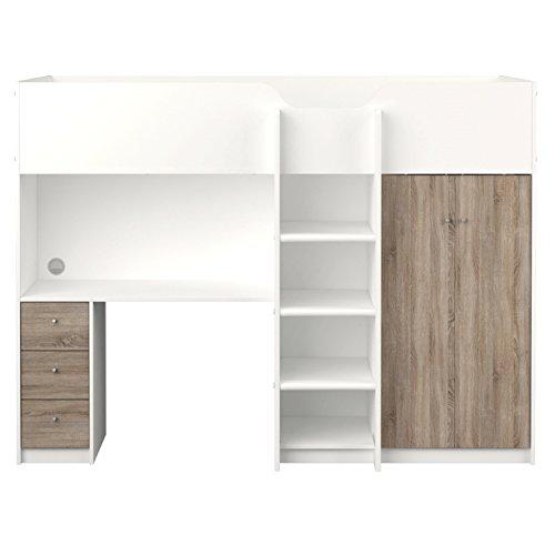 *Etagenbett IRMA 90×200 Multifunktionsbett mit Schreibtisch und Schrank weiß*