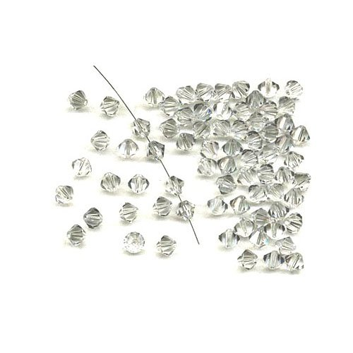 Charming Beads Pacco 95+ Grigio Chiaro Cristallo Ceco 3mm Bicono Sfaccettato Perline GB8645-1