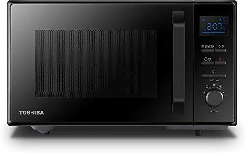 Toshiba MW2- AC25TF Forno Microonde Grill Combinato, 25 L, con Funzione Crispy, 10 Menù Facili, Vano Interno in Ceramica, Piatto Girevole, 900 W, Grill 2100 W, 51.3x51.3x31 cm, Nero