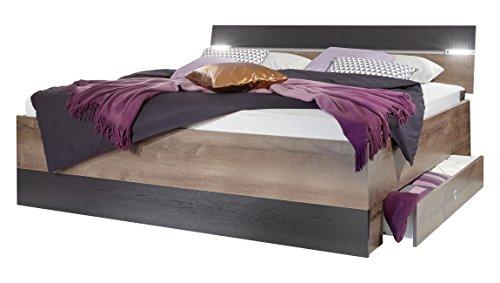 Wimex K05297 Bett, Holz, schlammeiche/schwarz, 210 x 180 x 96 cm
