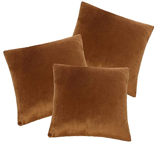 CALIYO - Funda de cojín de terciopelo, universal, 2 o 3 fundas de almohada para cojines decorativos, cojines de sofá, cojines de sofá, 45 x 45 cm, muchos colores, Marrón-2, 50 x 50 cm
