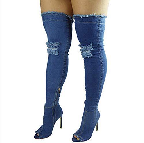 LPZzzA Denim Blue Muslo Botas altas para las mujeres, Moda Arrancado Denim Azul Sexy Stiletto Side Zipper Fish Mouth Muslo Botas altas para Mujeres-B || 36