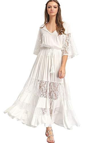 Milumia Women's Bohemian Drawstring Waist Lace Splicing White Long Maxi Dress White Large