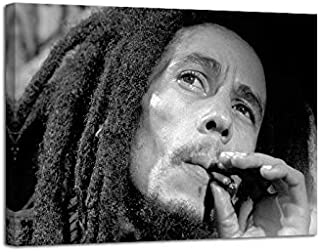 Bob Marley Smoke Poster Artwork Print Canvas Painting Wall Decor Size 12 by 16 with Framed