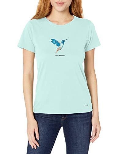 Life is Good Womens Crusher Flower Graphic T-Shirt, Bermuda Blue, Large