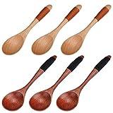 TsunNee Cucchiai in legno con manico corto, per zuppa di riso, con linea legata, per campeggio, cucina, cena, stoviglie, 6 pezzi