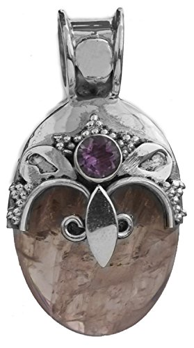 Lámpara de techo colgante con Amatista Cuarzo rosa - de plata de ley