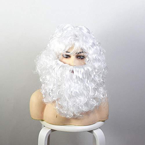Santa Beard And Wig Set White Long Beard Christmas Props Santa Claus Cosplay Costumes Accessory For Xmas Parties Festivities White-Wig + beard