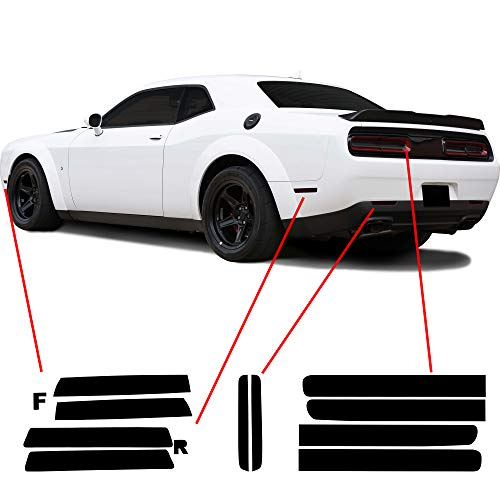 Bogar Tech Designs Tail Light Sidemarkers Rear Reflectors Tint Kit Compatible with and Fits Dodge Challenger 2015-2021, Dark Smoke