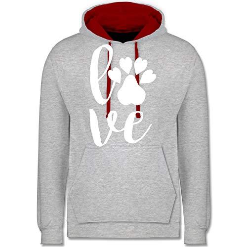 Shirtracer Valentinstag - Tierliebe - XL - Grau meliert/Rot - Spruch - JH003 - Hoodie zweifarbig und Kapuzenpullover für Herren und Damen