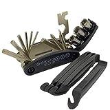 16 in 1 Multi-Function Bike Bicycle Cycling Mechanic Repair Tool Kit,Bicycle Tool Kit, Motorcycle Portable Multifunctional Repair Tool Set, Folding Metric Repair Tool Set Kit, 4 pcs Tire Pry Bars Rods