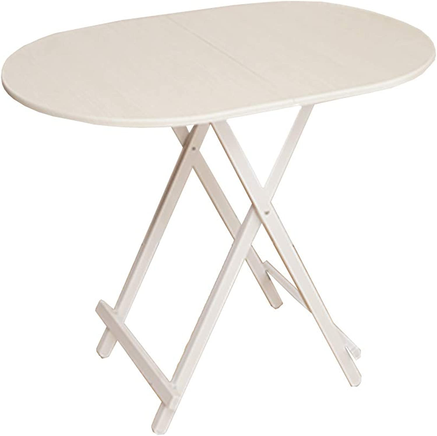 Folding Table Portable Picnic Table MDF Oval Table Multi-Function Computer Desk (color   White Wood Grain)