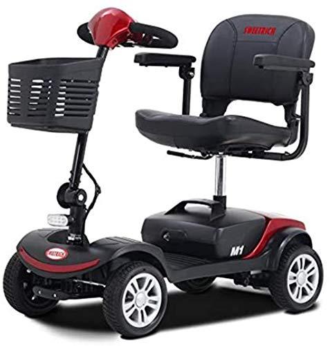 SWEETRICH seniorenfahrzeug elektromobil Seniorenmobil Senioren Scooter-Klappbar und zerlegbar-6km/h 16 Kilometer Reichweite (Rot)