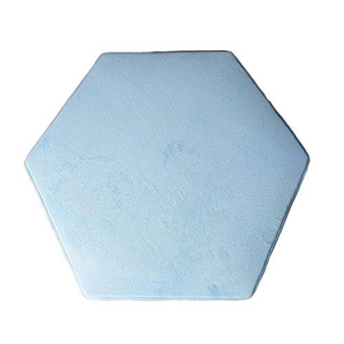 Tapis Hexagonal Tente De Princesse Parc Bebe Coral Fleece Bleu Clair Tente Enfants Intérieur Tapis Enfant Tipi Deco Tapis Hexagonal Tente Tapis Sol Bebe 140 x 140 cm (Bleu clair)