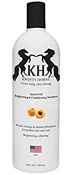 Knotty Horse Apricot Oil Brightening & Conditioning Shampoo for Horses — Made with Real Apricot Oil — Great Smelling Nutrient Rich Formula is Effective on All Types of Hair and Skin — 36 oz Bottle