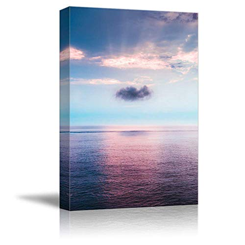 NWT Canvas Wall Art Purple Sunset Flow Ocean Water Painting Artwork for Home Prints Framed - 24x36 inches