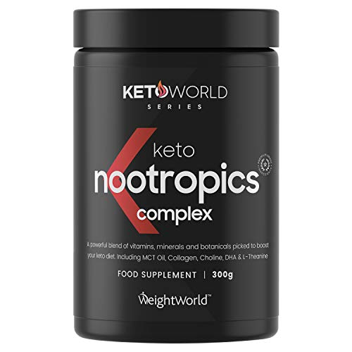 KetoWorld Keto Nootropic Powder 300g - Nootropics Cognitive Enhancer Supplement for Keto Diet, Carb Free Brain Booster with MCT Oil Powder, Multivitamin & Mineral Brain Food Supplement
