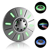 LION CITY UFO Fidget Spinner, Glow in The Dark Hand Spinner with Green & Blue Luminosity, Fully Metallic Space Ship Desk Toy with Replaceable Bearing, Comes with Mini Flashlight, Silver