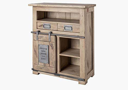 MASSIVMOEBEL24.DE Kommode Sideboard Mango Holz massiv 1 Tür 5 Fächer 2 Schubladen 75cm geweißt