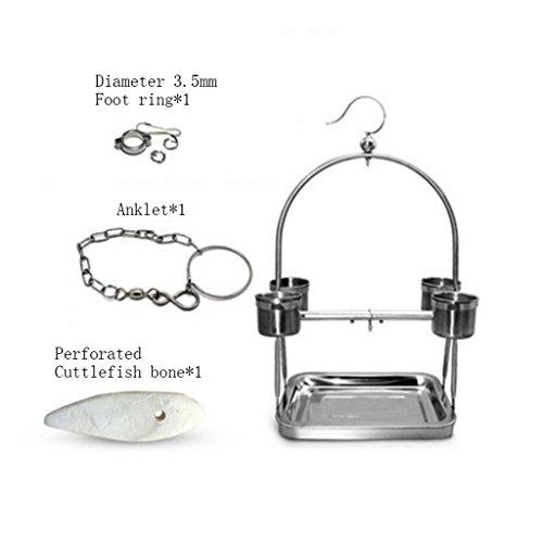 Liuyu·Leven Thuis Staand Frame RVS Papegaai Kleine En Medium Vogelplank Starling Voet Ring Voetkettingen, 3.5mm foot ring