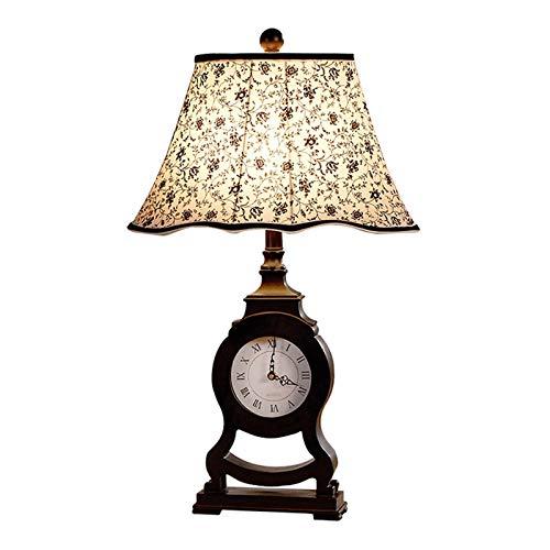Lámpara Escritorio 26.8' Lámpara de mesa de resina H Café oscuro con el reloj romano, estilo retro país lámpara de escritorio de luz de la noche luz del escritorio for el dormitorio de la sala de la f