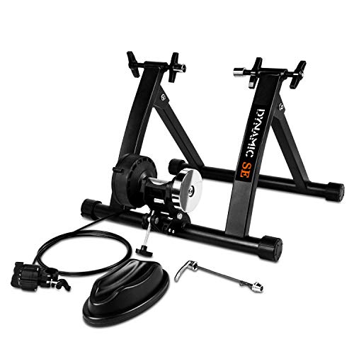 DYNAMIC SE Indoor Bike Trainer Indoor Eexercise Bicycle Magnetic Trainer Stand 6 Levels Magnetic Resistances with Quick Release Skewer (Black)