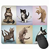 ヨガキャッツキュートキティ マウスパッド 25×30 大判 ノンスリップ 防水 ゲーミング おしゃれ マウスの精密度を上がる