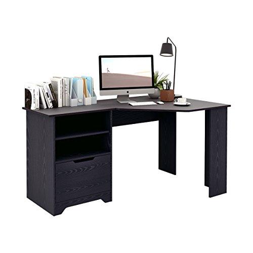 DEVAISE L-Shaped Corner Desk, Wood Computer Desk with Storage Shelves