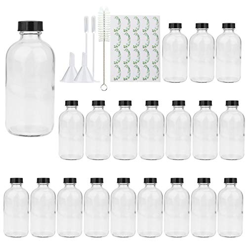 8oz Clear Glass Bottle, Reusable Glass Bottles with Airtight Lid for Shampoo, Conditioner, Essential...