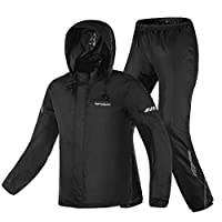 TopOne オートバイのレインコートスーツ大人の不透過乗馬防水超薄型屋外防雨保護ギア ブラックL