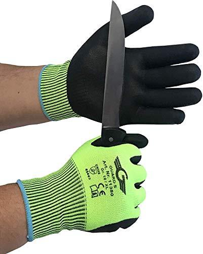 1 paire de gants de protection contre les coupures en nitrile Niveau 5 - paume et doigts enduits de nitrile très bonne sensation tactile (8 / M)