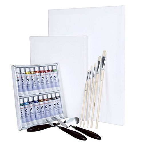 Artina Malset Ölfarben-Set Malta - Künstler-Set mit 2 Leinwänden, 18 Ölfarben, Pinseln und Spachtel - Ideal für Anfänger & Hobbykünstler