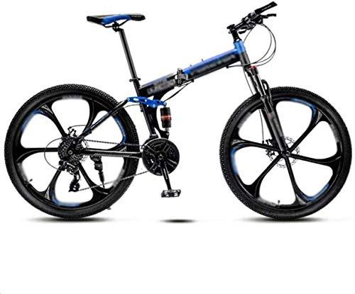 MJY Vélo pliant de montagne pour hommes et femmes, 21 vitesses à vitesse variable, double amortisseur de chocs, roues à 6 couteaux, route, pli en 8 secondes 7-2,24 pouces