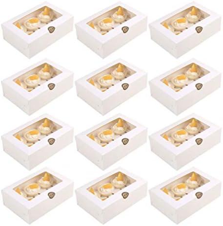 TOYANDONA 12 Stks 6 Inserts Cake Boxes met Windows Bakkerij Dozen Kraft Papier Cupcake Verpakking Doos Kartonnen Cake Dozen voor Festival Party geen stickers