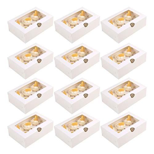 Toddmomy Panadería Desechable Blanca 6 Cuadrículas Cajas de Papel para Cupcakes Carrier...