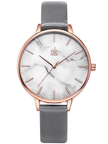 Alienwork Damen-Armbanduhr Quarz Rose-Gold mit Lederarmband grau Weiss Ultra-flach Slim-Uhr elegant