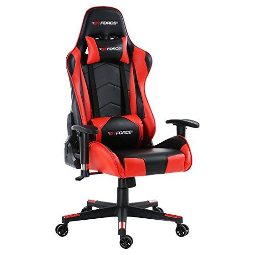 GTFORCE PRO FX - Gaming-Stuhl für E-Sport und Rennspiele - PC-Stuhl für das Büro - Liegepositionen - Kunstleder - Rot