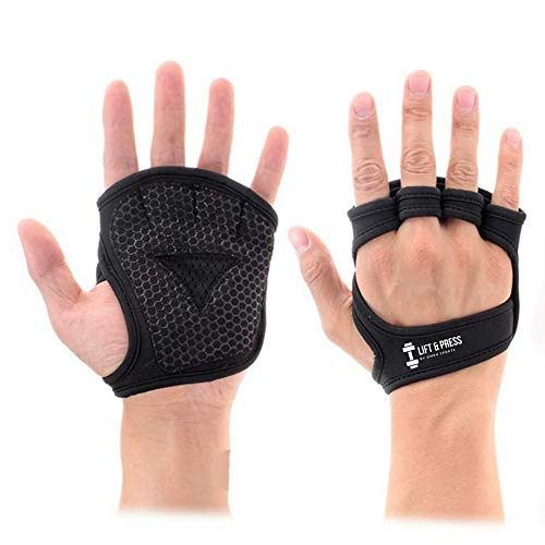 New Workout Gloves  Lifting Gloves   Gym Grip Pads for Weight Lifting Training, Pull Up Exercise&Cross Training  Anti-Slip Barehand Grips&Lifting Pads   Suit Men and Women (Large)
