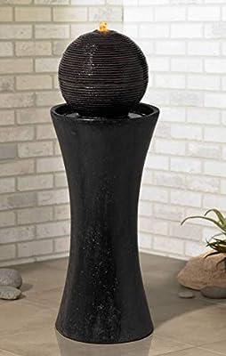 """Dark Sphere Modern Zen Outdoor Floor Water Fountain with Light LED 30"""" High Bubbler Pillar for Yard Garden Patio Deck Home - John Timberland"""