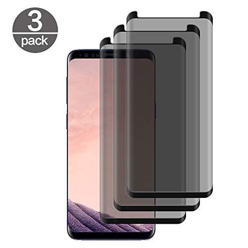 [3 Pack] Templado Vidrio Samsung Galaxy S8 Plus, con Filtro de Privacidad Anti-espía Peeping Protector de Pantalla 9H Dureza Resistente sin Burbujas Screen Guard Tempered Glass Película Protectora