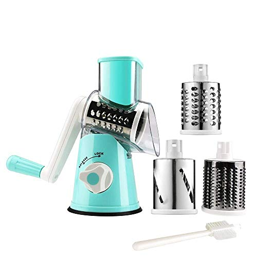 Manual Rotary Cheese Grater Round Vegetable Potato Carrot Mandoline Slicer Nuts Grinder with Cleaning Brush for Kitchen(blue)