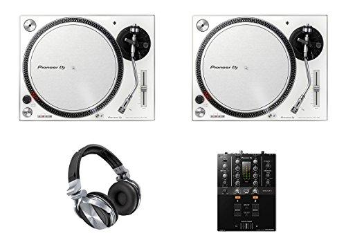 2x Pioneer PLX-500 White DJ Turntable + DJM-250 MK2 Mixer + HDJ-1500 Headphones