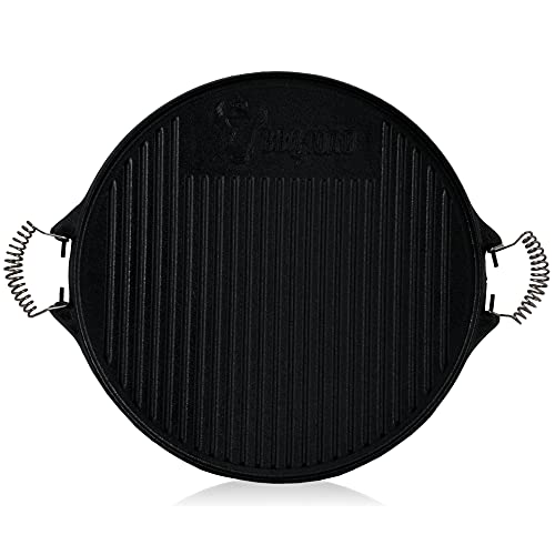 BBQ-Toro Gusseisen Grillplatte mit Griffen | Ø 42 cm | Wendeplatte, emailliert | Gasgrill Zubehör | Emaille Plancha für BBQ, Kugelgrill, Holzkohlegrill