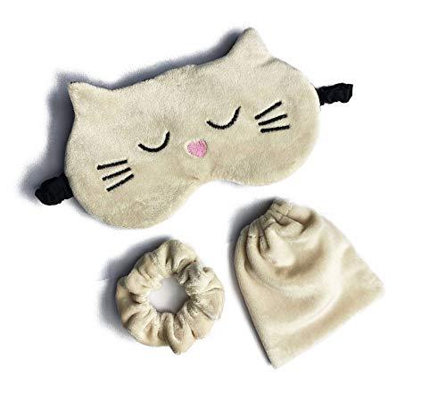 Süße Katzen-Schlafmaske, flauschige Tier-Augenmaske zum Schlafen, Samt-Geschenk-Set, Tasche + Scrunchie-Plüsch-Schlafmaske, lustig, für Kinder und Erwachsene