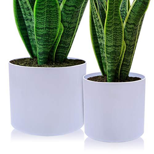 AISHNA Vaso per piante, 2 pezzi, in plastica, moderno vasi da giardino decorativi con fori di drenaggio, diametro 20 cm e 25 cm, adatto per tutte le piante da interni, erbe aromatiche ecc. (bianco)