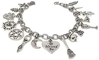 Pagan Ritual Stainless Steel Charm Bracelet - Witches Sabbat Jewelry - Samhain, Mabon, Beltane, Wicca