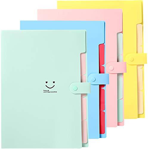 Carpetas de Plástico Expandibles,Carpeta de Archivos de Expansión,5 Bolsillos,Tamaño A4,para la Escuela y la Oficina Accordion Document File Folder Expanding Letter Organizer