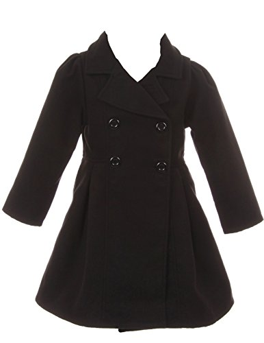 iGirlDress Coat Long Sleeve Button Pocket Long Winter Coat Outerwear Black Size 8
