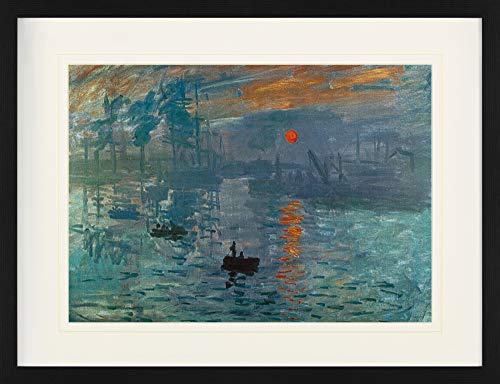 1art1 Claude Monet - Impression, Sonnenaufgang, 1872 Gerahmtes Bild Mit Edlem Passepartout   Wand-Bilder   Kunstdruck Poster Im Bilderrahmen 80 x 60 cm