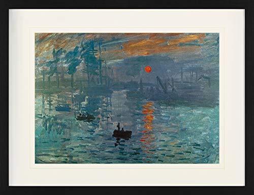 1art1 Claude Monet - Impression, Sonnenaufgang, 1872 Gerahmtes Bild Mit Edlem Passepartout | Wand-Bilder | Kunstdruck Poster Im Bilderrahmen 80 x 60 cm